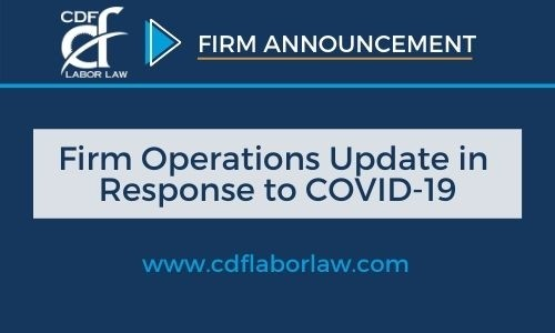 A Message from CDF Regarding Firm Operations in Response to COVID-19